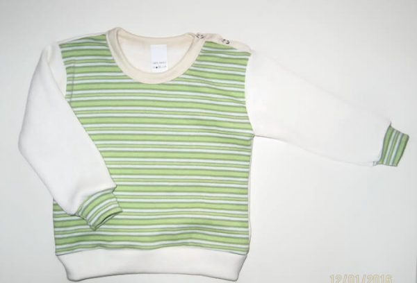 baba pulcsi, zöld csíkos, uniszex, termékkép.