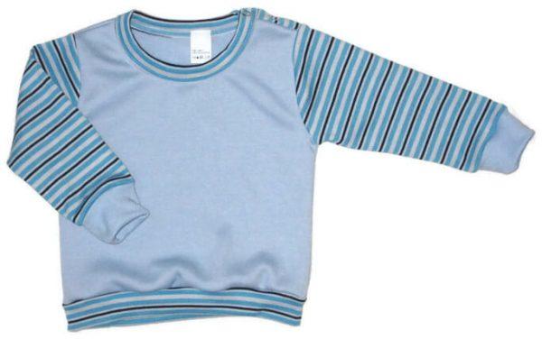 hosszú ujjú pulcsi, világoskék színű, csíkos ujjú, vállnál patentos, kisfiúknak, termékkép.