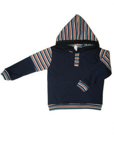 baba pulcsi, sötétkék színű, kapucnis, kisgyerekeknek, termékkép.