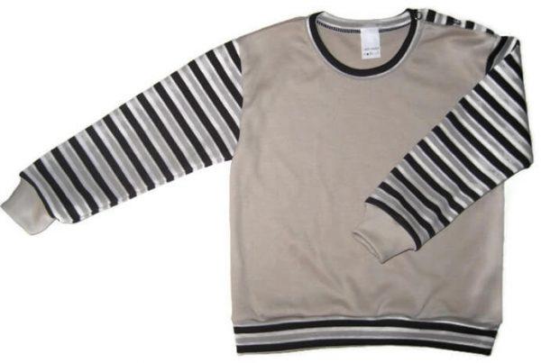 hosszú ujjú pulcsi, drapp színű, barna csíkos ujjal, kisfiúknak, termékkép.