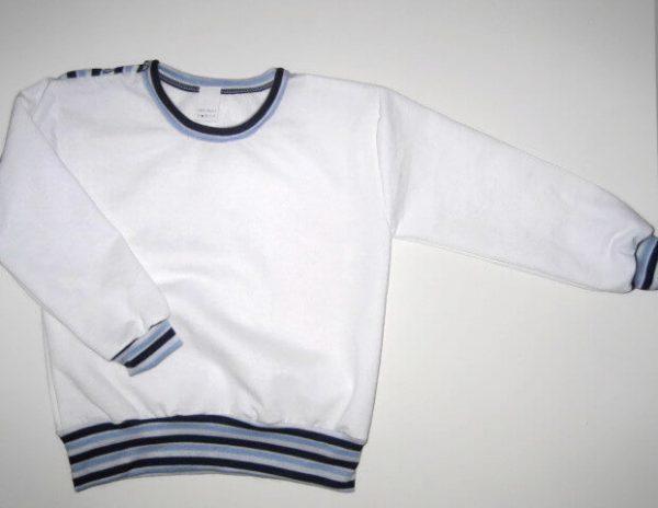 hosszú ujjú pulcsi, fehér színű, vállnál patentos, kisfiúknak, termékkép.