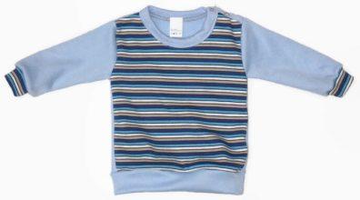 Baba pulóver, csíkos, vállnál patentos, kisbabáknak, kép.