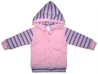 baba kocsikabát, rózsaszín színű, kapucnis, kép.