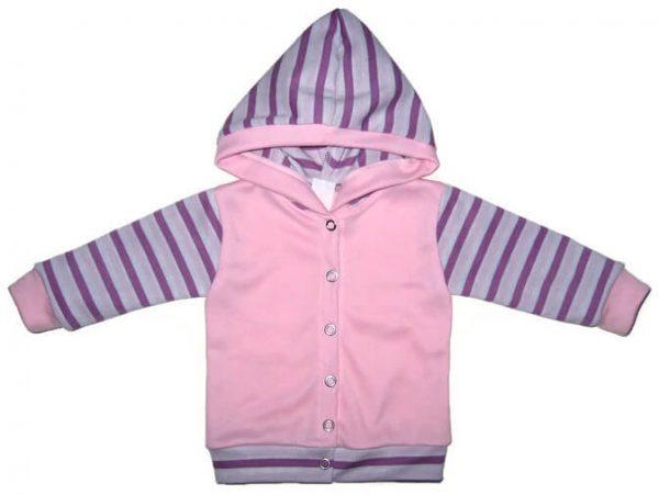 baba kardigán, rózsaszín színű, kapucnis, kislányoknak, termékkép.