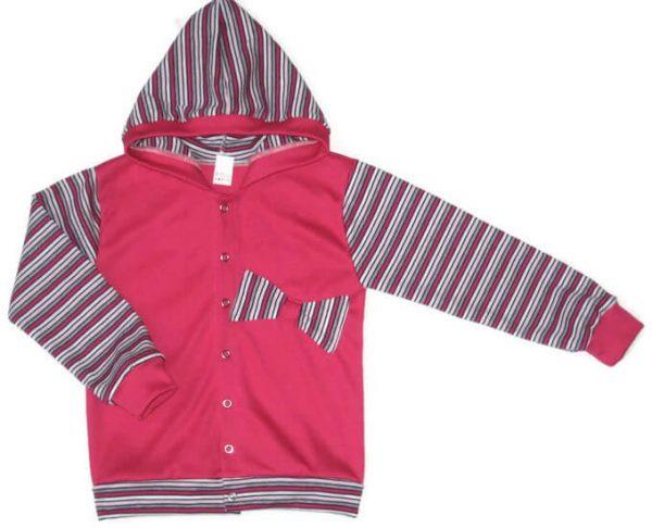 Kislány kardigán, pink színű, kapucnis, felvarrt masnival, kislányoknak, termékkép.