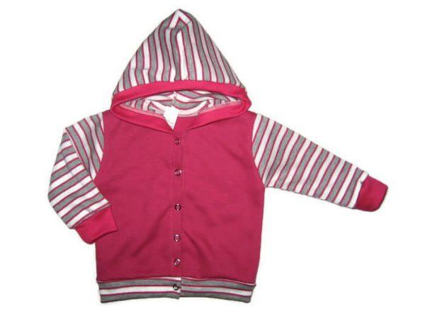 baba kardigán, pink színű, kapucnis, kislányoknak, termékkép.