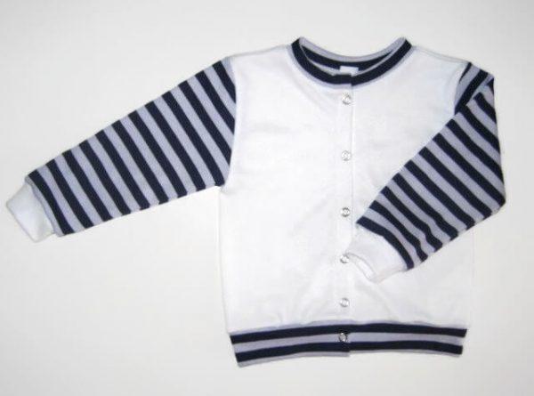 baba kardigán, fehér színű, kerek nyakú, kisbabáknak, termékkép.