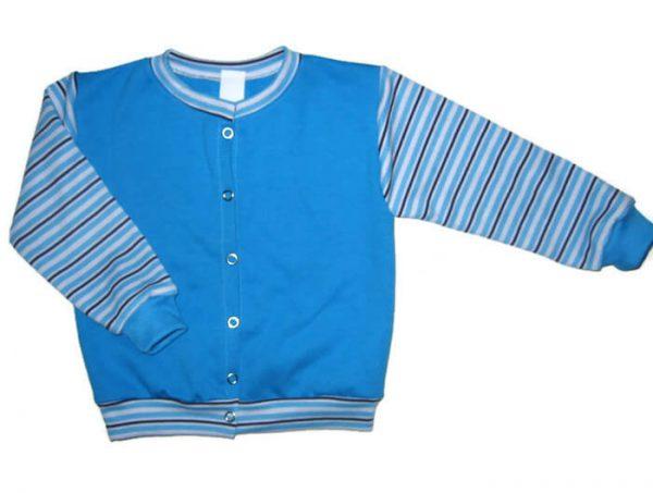 baba kardigán, türkizkék színű, kerek nyakú, kisfiúknak, termékkép.