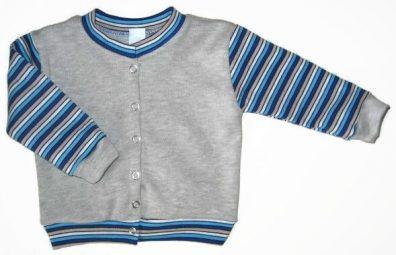 baba kardigán, szürke színű, kerek nyakú, kisfiúknak, termékkép.