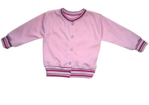 baba kardigán, rózsaszín kerek nyakú, kisbabáknak, termékkép.