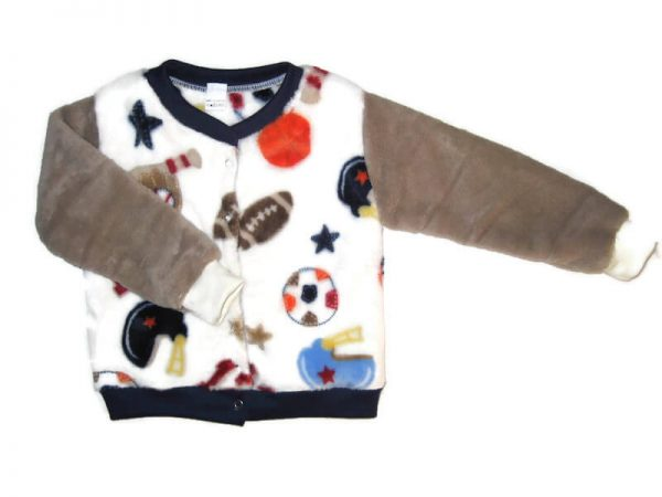 baba téli kocsikabát, vajszínű alapon labda mintás, elöl végig patentos, fiús téli kocsikabát, termékkép.