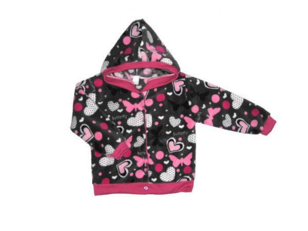 baba kardigán, szürke-pink pillangós, wellsoft, termékkép.