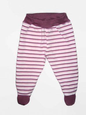 Lábfejes baba nadrág és csíkos, lila csíkos, sötétlila derékkal és talppal, termékkép.