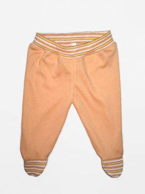 Lábfejes baba nadrág és barackszínű. Narancssárga csíkos derékkal és talpal, termékkép.