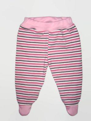 Lábfejes baba nadrág és rózsaszín csíkos, rózsaszín-fehér-fekete csíkos, babarózsaszín derékkal és talppal, termékkép.