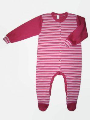 Hosszú ujjú rugdalózó pink csíkos, pink hosszú ujjal és talppal, termékkép.