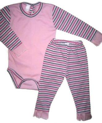 Baba body és leggings, 50-146-ig, lányka szett, rózsaszín body csíkos hosszú ujjal, hozzá illő csíkos hosszú leggingssel, termékkép.