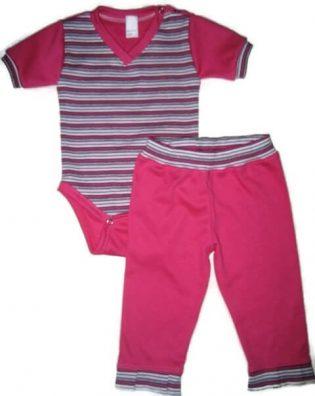 Baba body és nadrág, pink, 50-146, lányka szett, rövid ujjú pink csíkos body, hozzá illő pink nadrággal, termékkép.