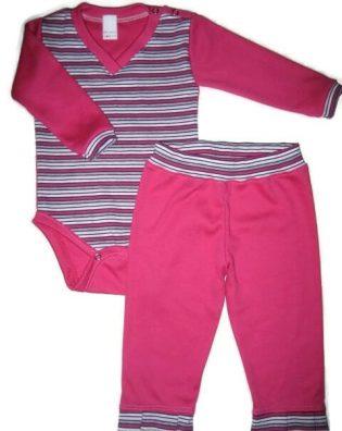 Baba body és nadrág, pink, lányka szett, hosszú ujjú pink csíkos body, hozzá illő pink nadrággal, termékkép.