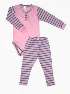 Baba body és leggings, lányka szett, rózsaszín body, lila csíkos hosszú ujjal, hozzá illő lila csíkos hosszú leggings nadrággal, termékkép.