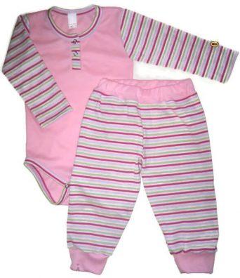 Baba body és babanadrág, rózsaszín, 50-146, lányka szett. Rózsaszín hosszú ujjú body, hozzá illő csíkos hosszú nadrággal, termékkép.
