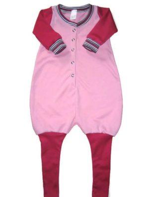 Tipegő hálózsák és belül bolyhos, baba rózsaszín, pink belül bolyhos pamut anyaggal variálva, hosszú ujjú hálózsák, termékkép.