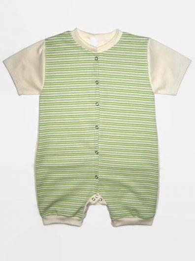 Baba body, rövid szárú, uniszex, zöld csíkos színű, vajszínű rövid ujjal, baba napozó, termékkép.