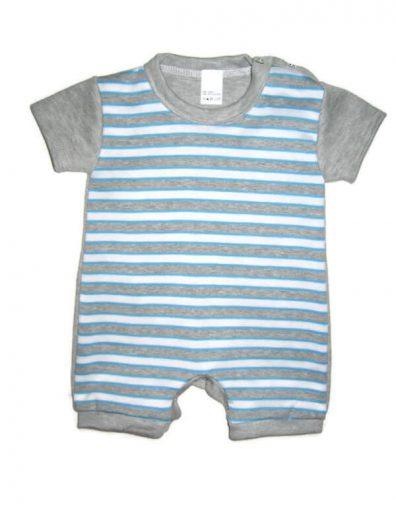 baba body, száras body, baba napozó, kék csíkos, rövid ujjal és szárral, termékkép.