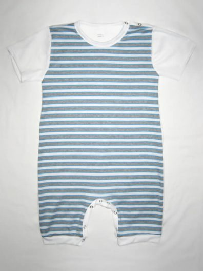 baba body, türkizkék csíkos, fehér rövid ujjal és rövid szárral, baba napozó, termékkép.