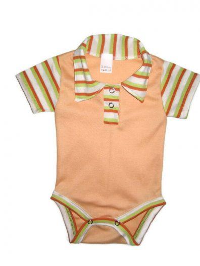 baba body, uniszex, galléros, rövid ujjú, barack színű, termékkép.