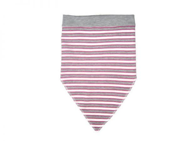baba fejkendő, rózsaszín-szürke csíkos, termékkép.