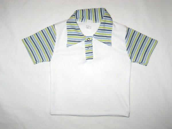 Gyerek póló, galléros, fehér színű, termékkép.