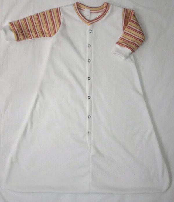 baba hálózsák, fehér színű, barack csíkos hosszú ujjú fazon, termékkép.