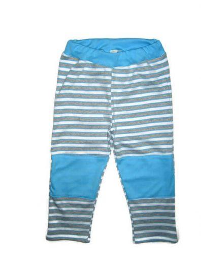 baba nadrág, türkizkék csíkos, térdfoltos, egyenes szárú nadrág, termékkép.