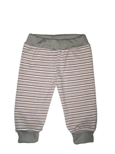 baba nadrág, fiú, drapp csíkos, hosszú fazonú, termékkép.