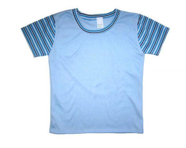 gyerek póló, világoskék, kék csíkos rövid ujjal, termékkép.
