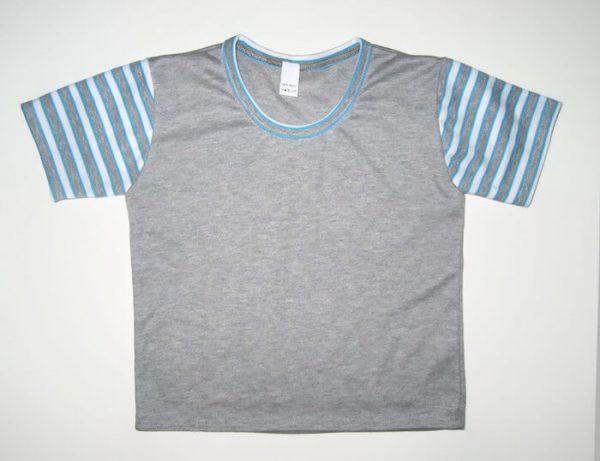 gyerek póló szürke színű, kék csíkos ujjal, termékkép.