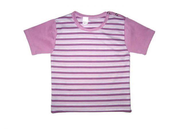 Lányka rövid ujjú póló, lila csíkos, lila ujjal, termékkép.