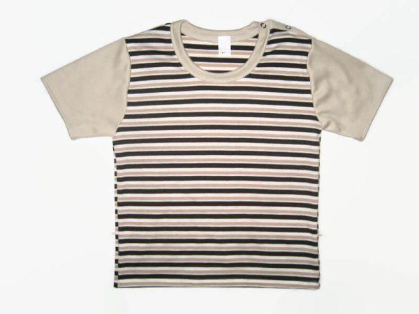 gyerek póló, barna csíkos, termékkép.
