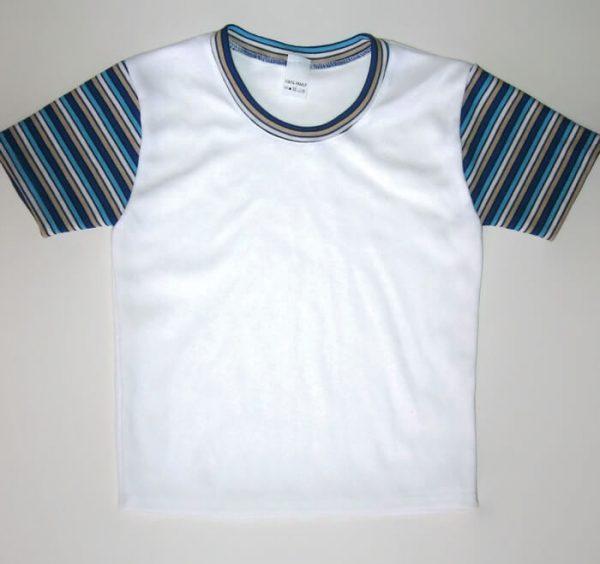 gyerek póló, fehér színű, kék csíkos ujjal, termékkép.