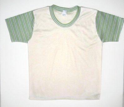gyerek póló, vajszínű, zöld csíkos ujjal, termékkép.