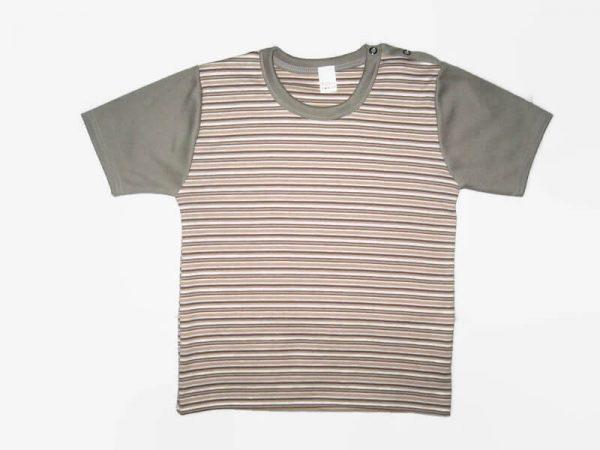 gyerek póló, drapp csíkos, termékkép.