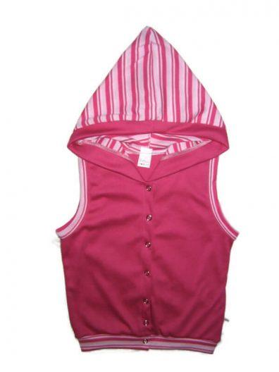 pamut baba mellény, pink színű, kapucnis, elöl végig patentos lányka mellény, termékkép.