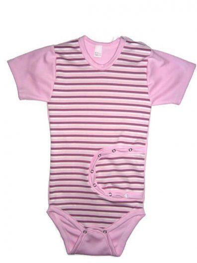 baba body, peg body, lányos, rövid ujjú, rózsaszín, termékkép.