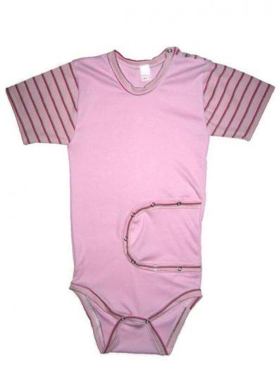 baba body, peg body, lányos, rózsaszín színű, rövid ujjú, termékkép.