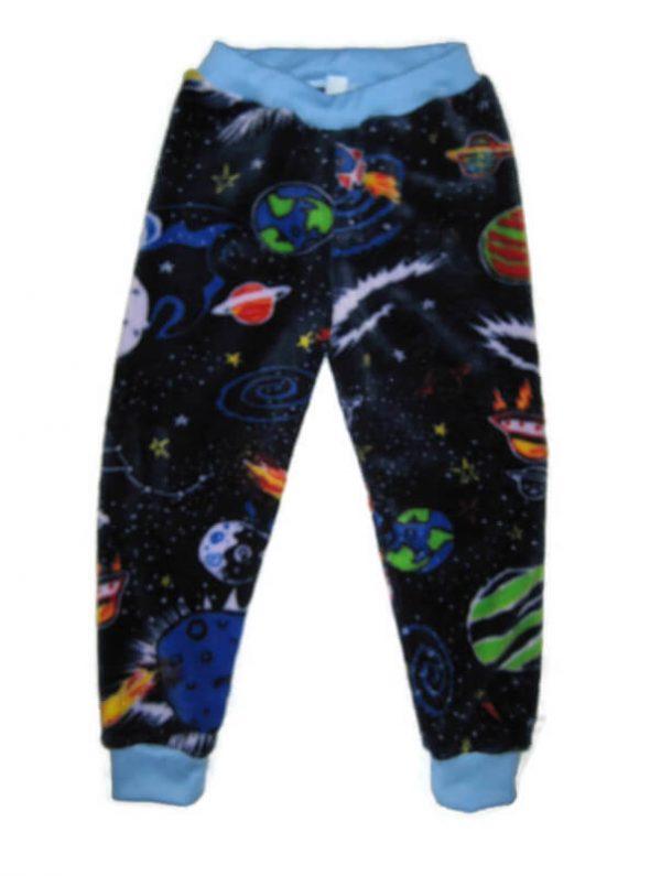 gyerek téli nadrág, sötétkék alapon bolygó mintás, vastag wellsoft anyagú, termékkép.