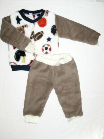 baba téli szett, wellsoft vastag anyagú, labda mintás kardigán, kávé barna színű nadrággal, termékkép.