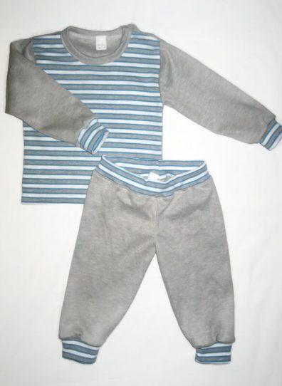 Gyermek pizsama, kék-szürke csíkos felső, szürke ujjal és hozzá illő szürke nadrággal, kép.