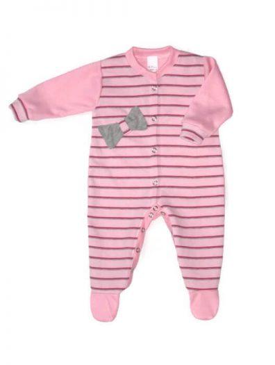 Lány rugdalózó, rózsaszín csíkos, rózsaszín hosszú ujjal és talppal, szürke masnival az elején, kép.