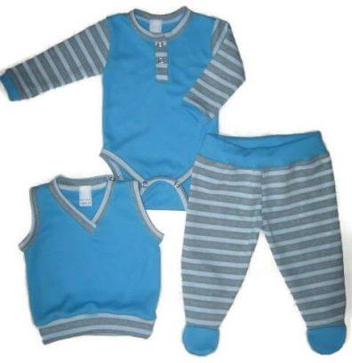 Baba öltöztetés tavasszal, türkizkék három darabos baba ruha szett, hosszú ujjú body, talpas nadrággal, hozzá illő mellénnyel, termékkép.